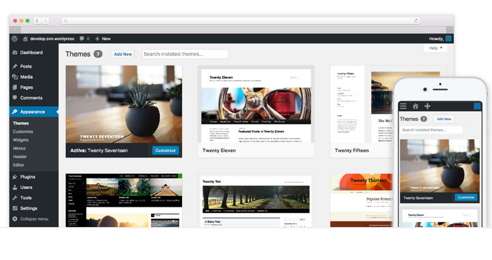 wordpress platform - create a beautiful website, blog, or app.