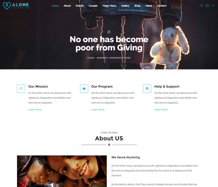 Alone Non Profit WordPress Theme