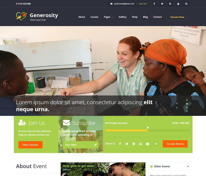 Generosity Chariy WordPress Theme