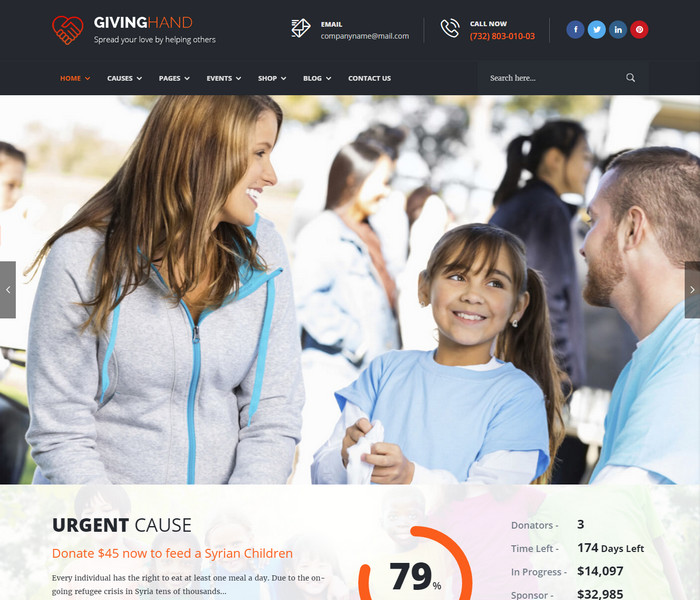 Giving Hand Charity WordPress Theme