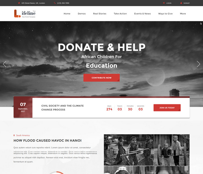 LifeLine Charity WordPress Theme