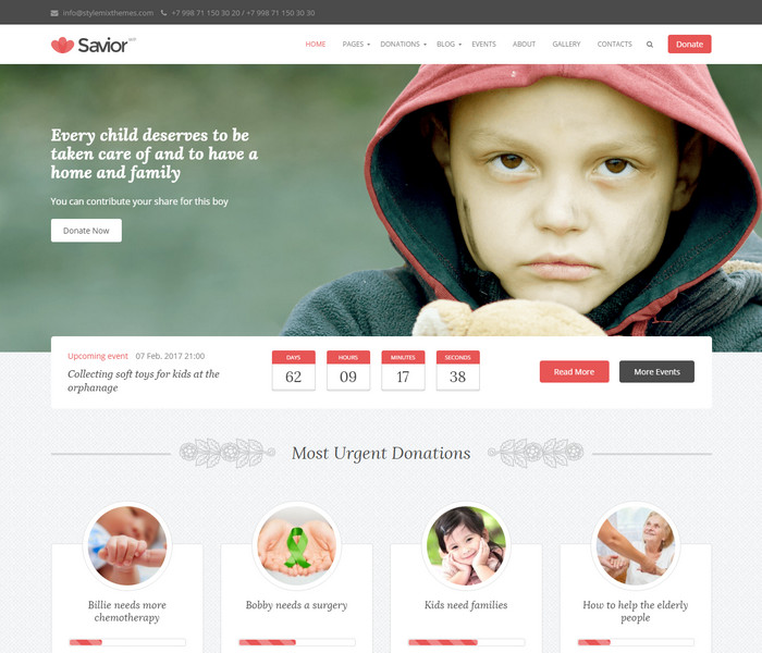 Savior Charity WordPress Theme