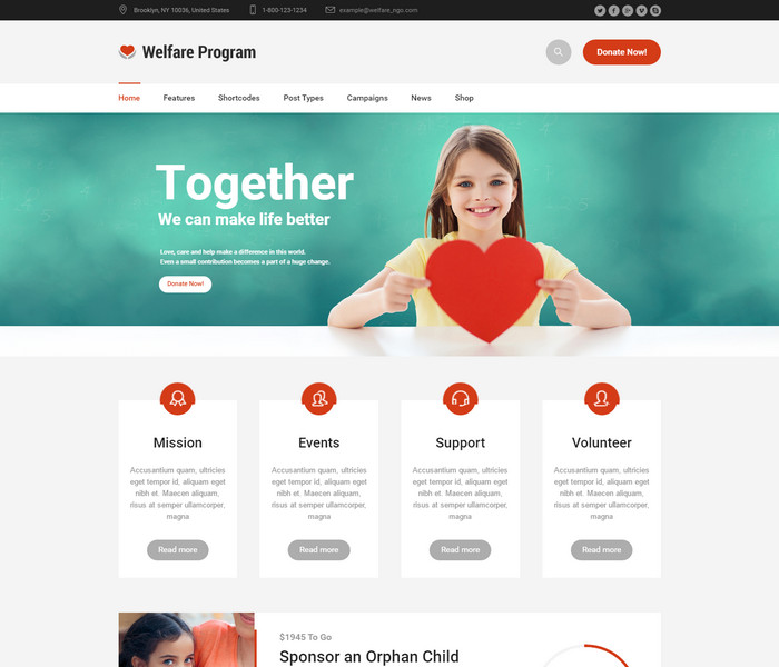 Welfare Program Charity WordPress Theme