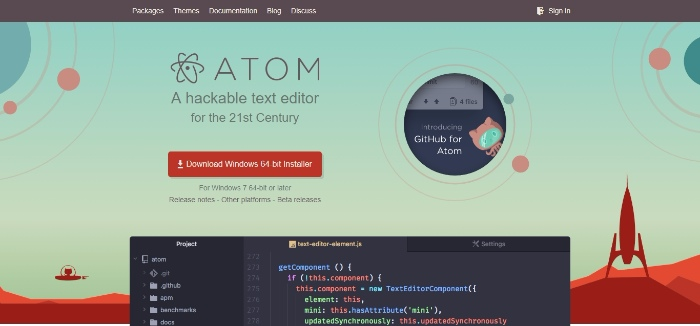 Atom- Hackable text editor