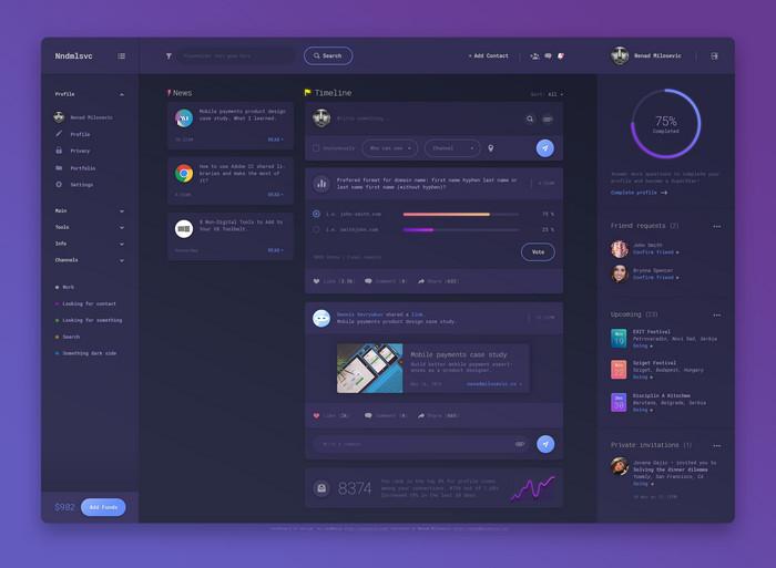 Dashboard UI PSD Design