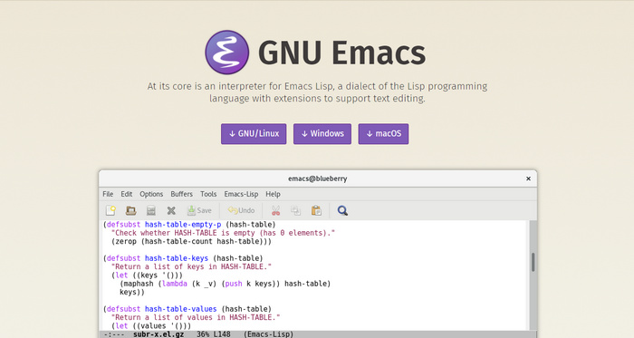Emacs- An extensible, customizable,free text editor