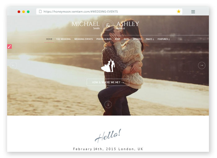Honeymoon Wedding Template