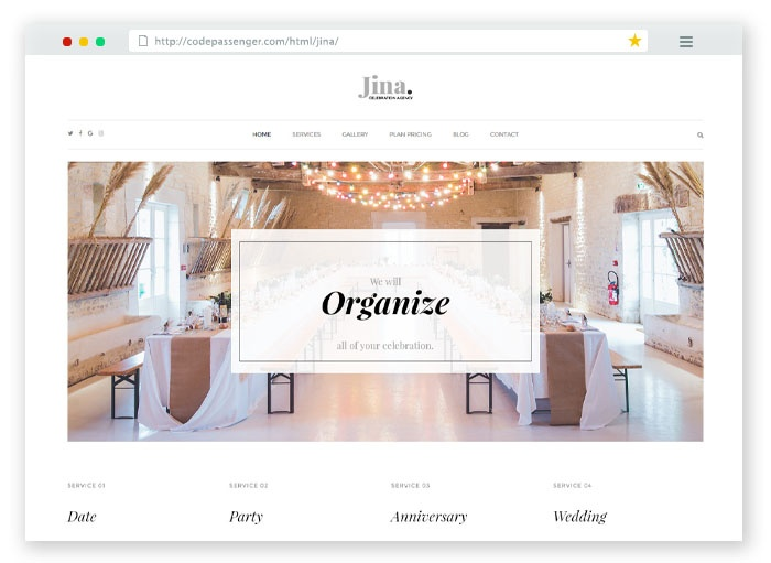 Jina Wedding HTML Template