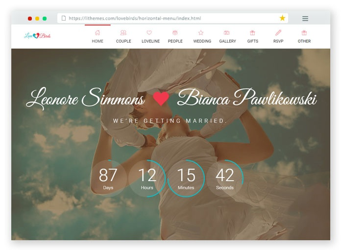 LoveBirds Wedding HTML Template