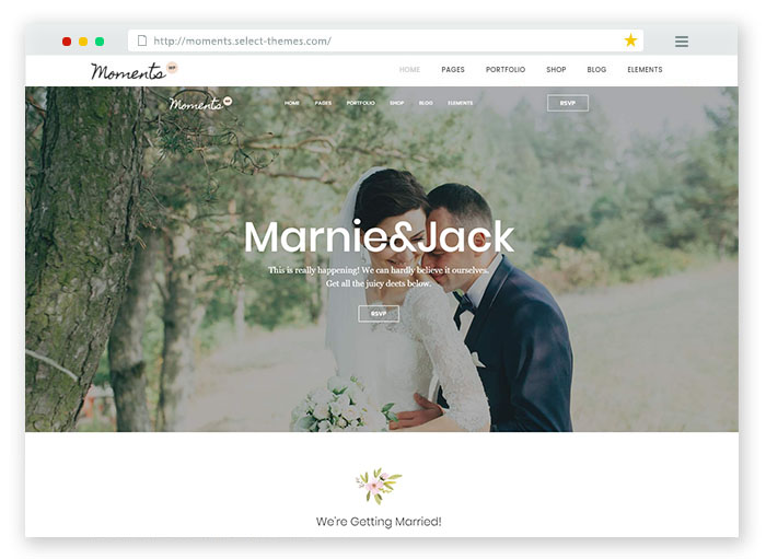 Moments Wedding WordPress Theme