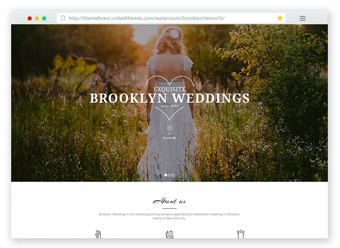 Brooklyn WordPress Wedding Theme for couples