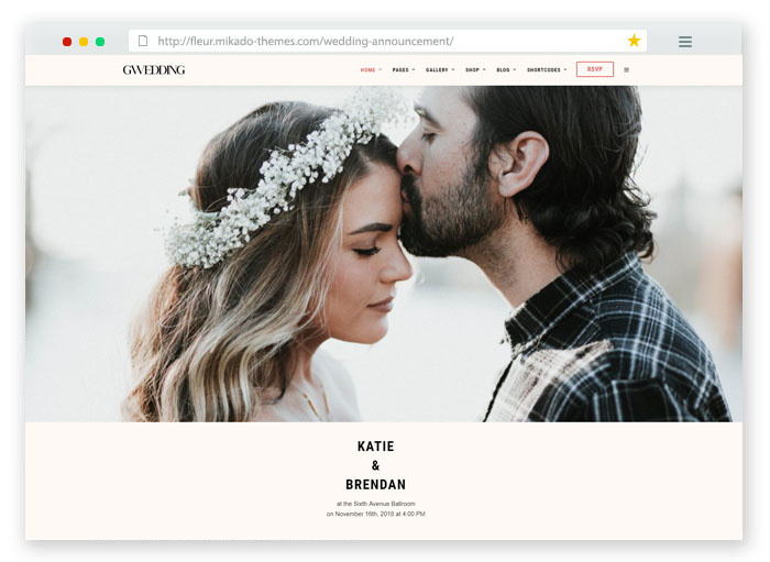 responsive clean WordPress theme for weddings