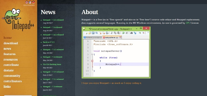 notepad plus for web development
