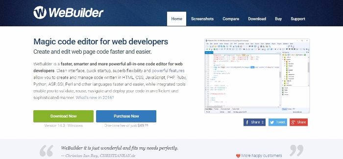 Webuilder- magic code editor for web developers