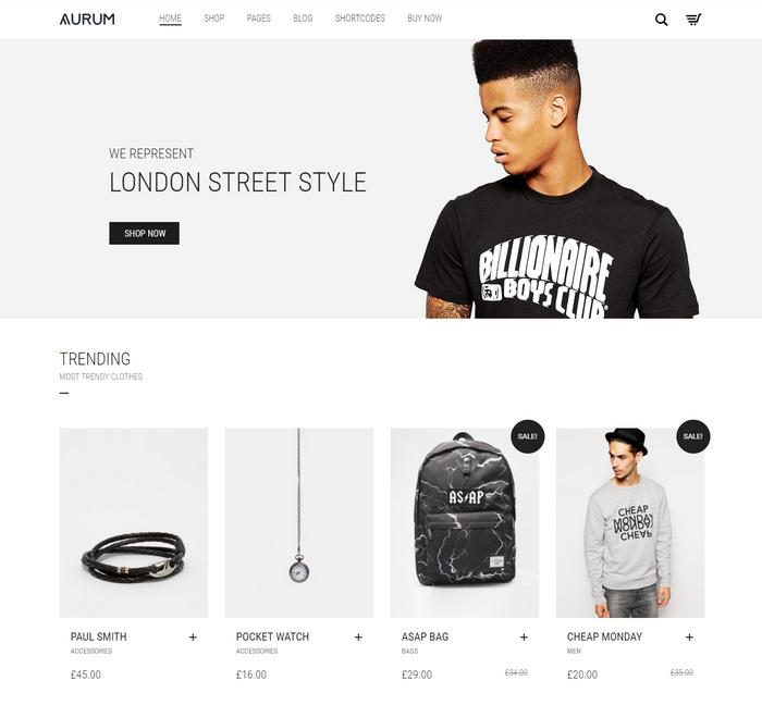 Aurum is a minimalist Woocommerce theme
