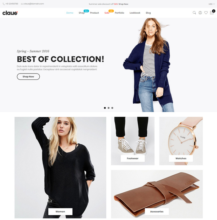 Claue is a minimal responsive Woocommerce theme with awesome design & layout