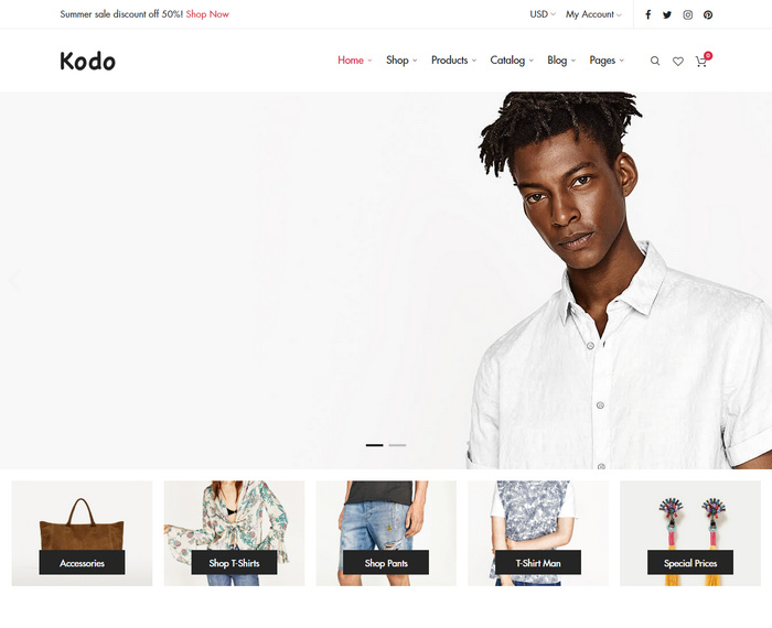 Kodo is a minimal responsive Woocommerce theme with awesome design & layout