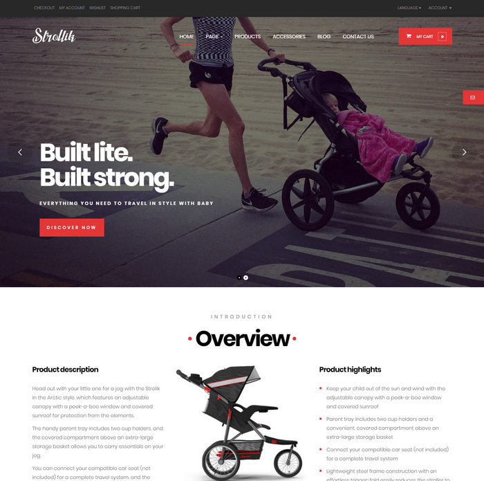 Strollik is a dedicated e-commerce WordPress theme to sell one product based on Woocommerce