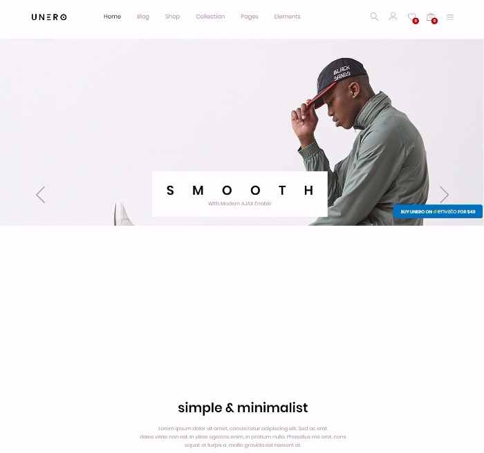 Unerois a theme which is suited for a lot of e-commerce website such as fashion store