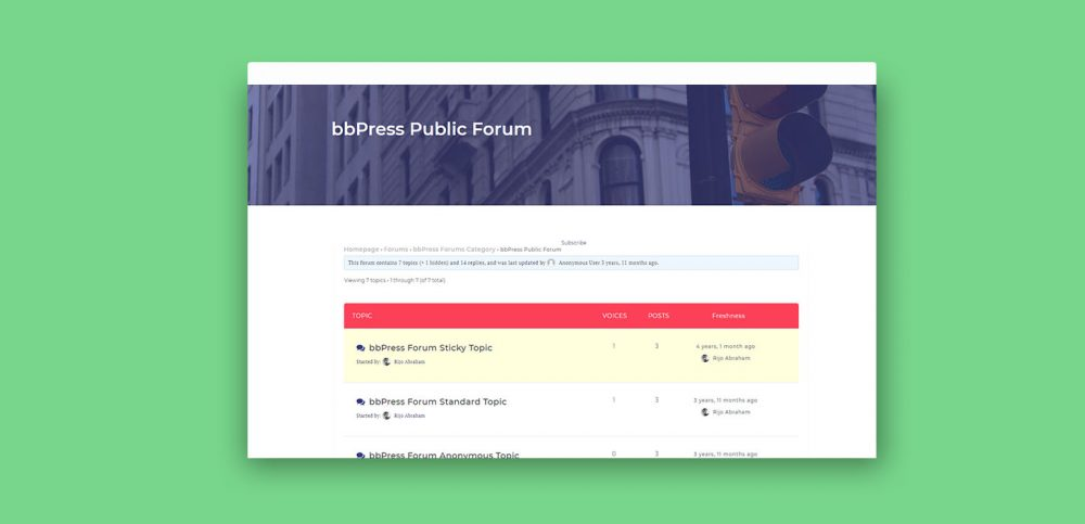 free wordpress theme with bbpress forum