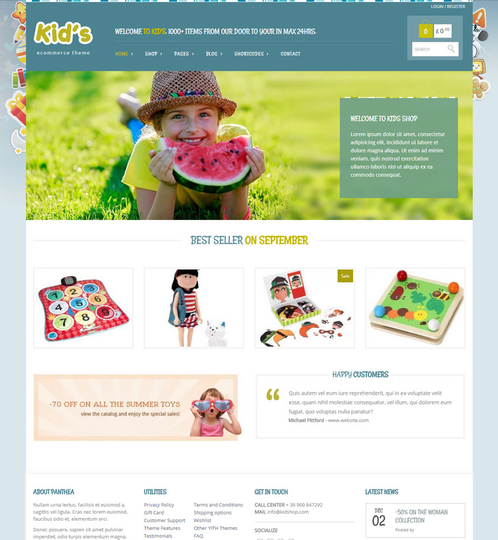 free kids online store themes