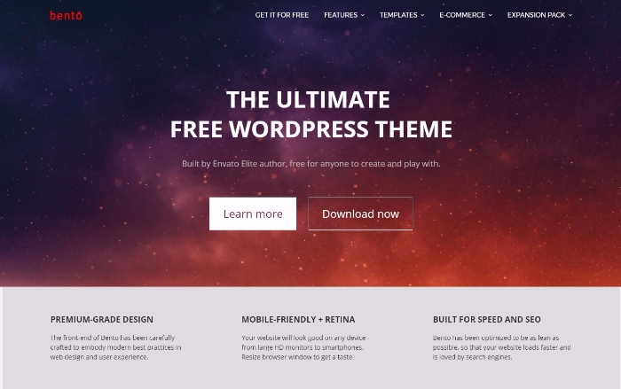 bento - free user-friendly WordPress theme with colorful design