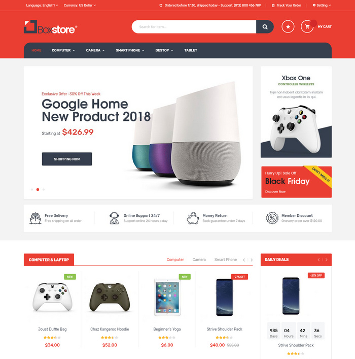 Online multistore Magento template