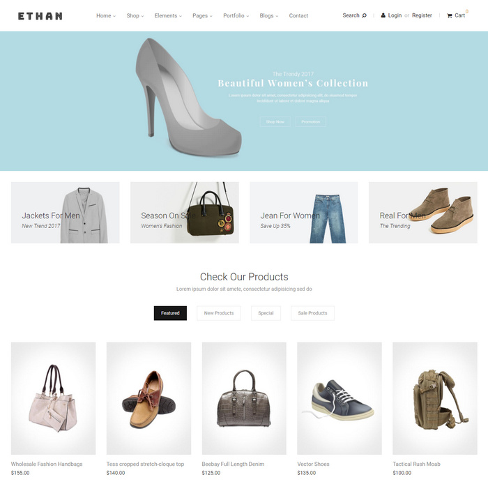 modern template for eCommerce website