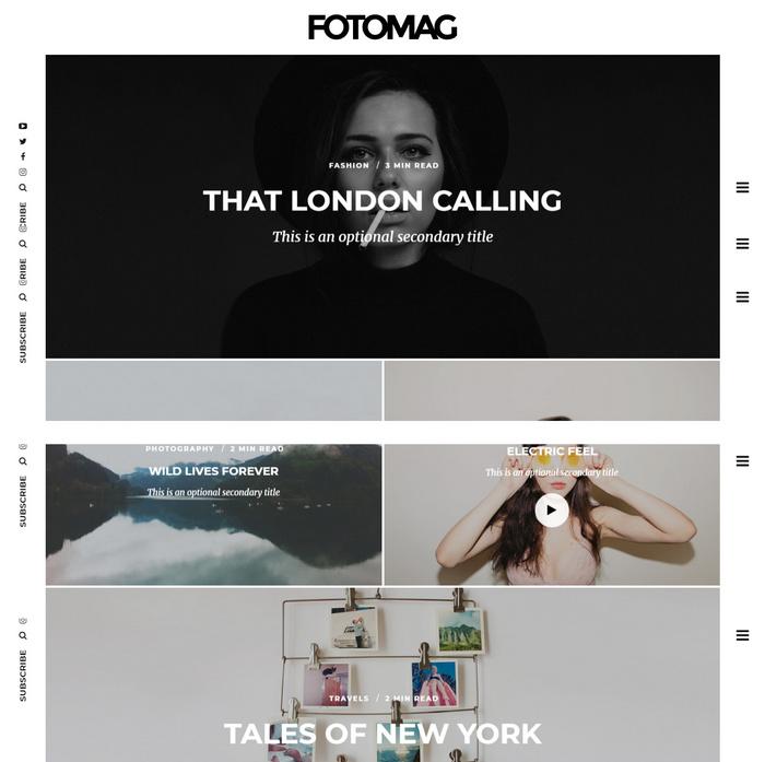 minimalist photography blog magazine theme