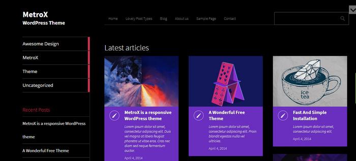 Metro WordPress theme for blogs and magazines