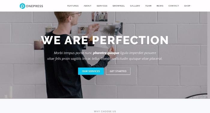 onepress flexible WordPress one-page theme