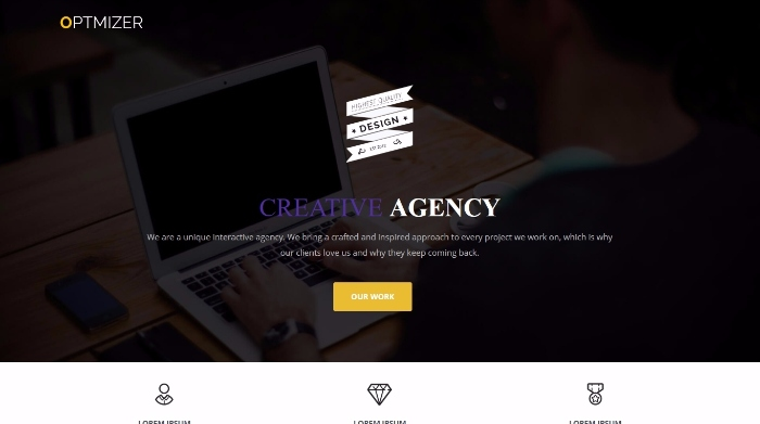 optimizer - free landing page theme for business