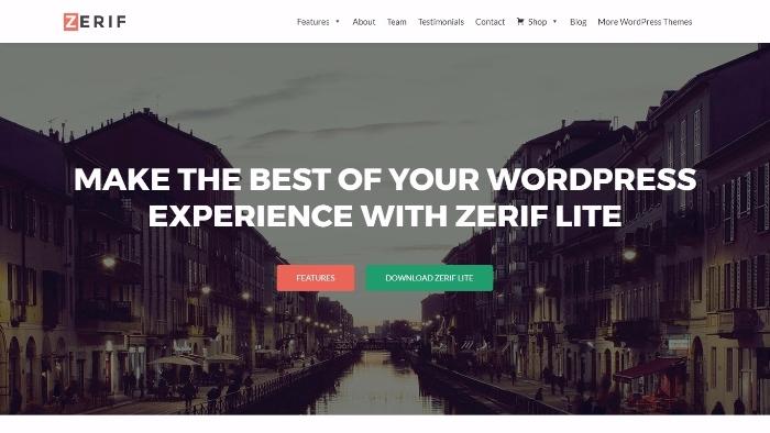 zerif - free one-page WordPress theme