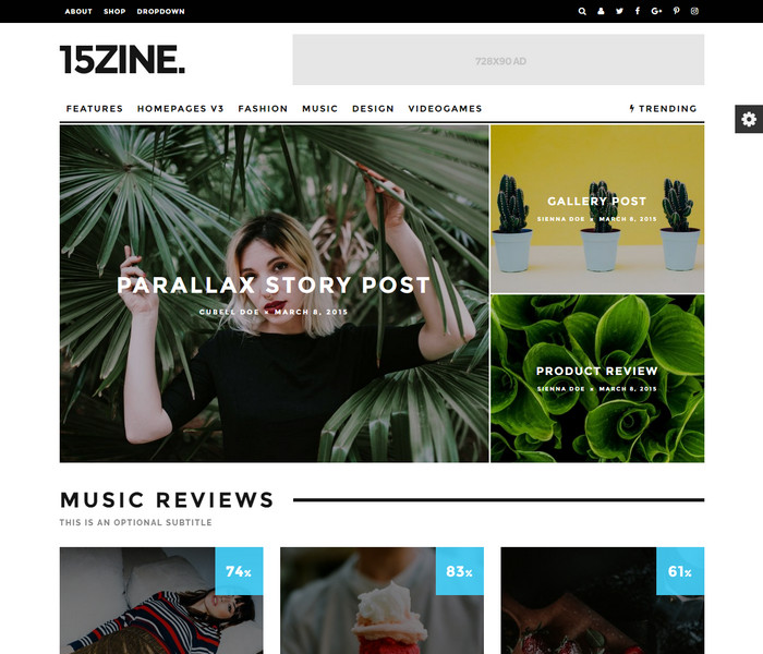 15Zine WordPress Theme for fashion blogs, reviews