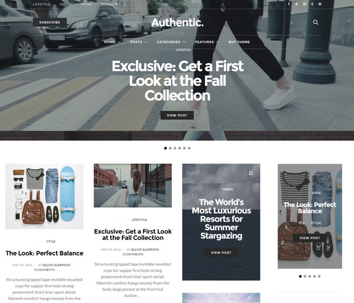Authentic lifestyle blog WordPress Theme