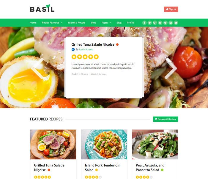 Basil Recipe WordPress Theme