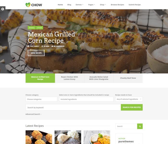 Chow Food Recipe WordPress Theme