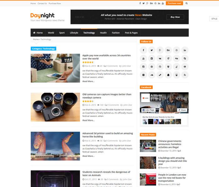 Day Night Technology News WordPress Theme