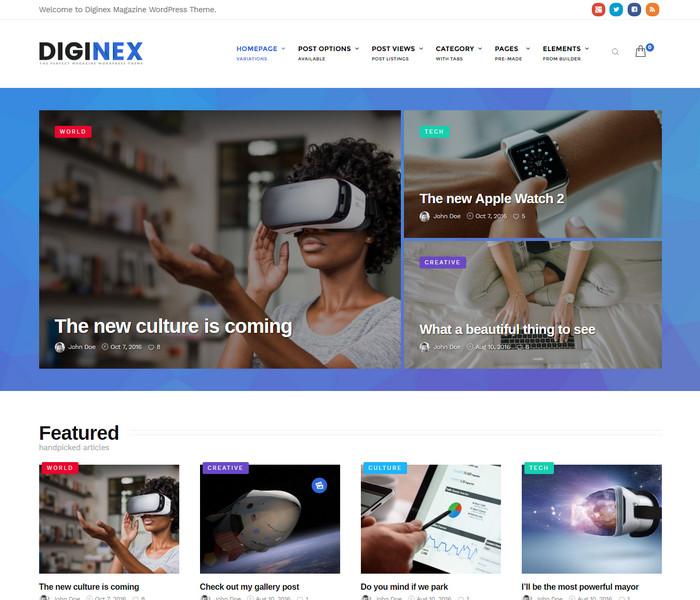 Diginex Magazine Theme for technology websites