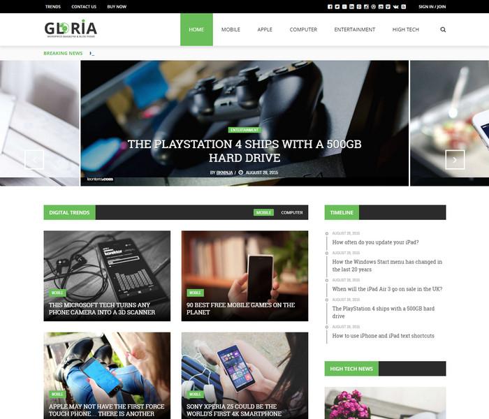 Gloria Technology WordPress Theme