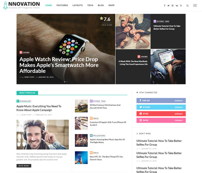 Innovation WordPress technology blog Theme