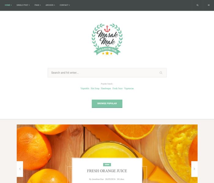 MasakMak Food Blog WordPress Theme