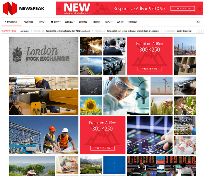 Newspeak Responsive WordPress Theme for magazines