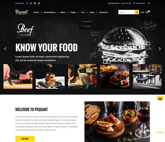 Piquant Restaurant WordPress Theme