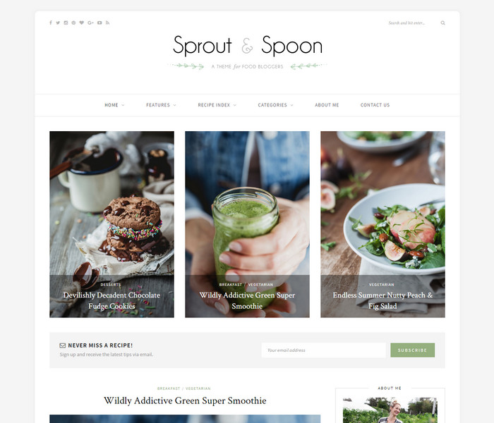 Sprout Food Blog Theme
