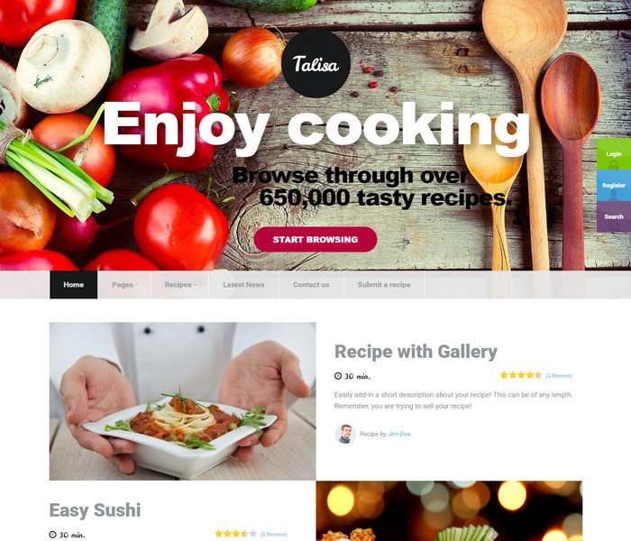 Talisa Food Recipe WordPress Theme