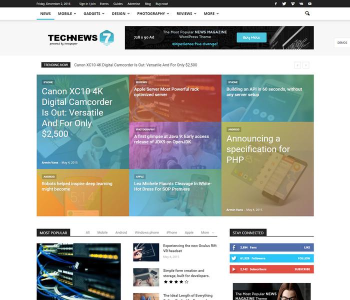 TechNews WordPress Theme for news websites