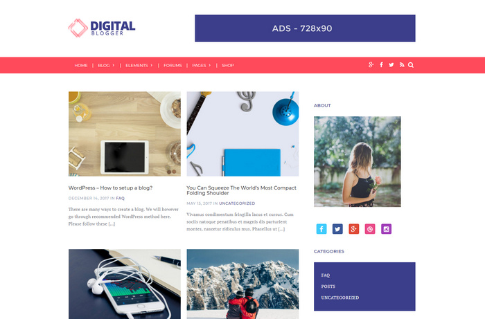 dblogger - free digital wordpress blog theme