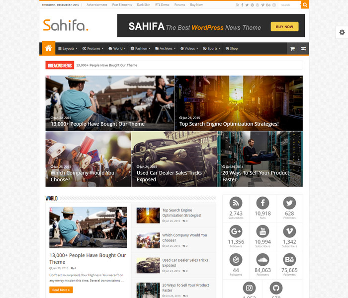 Sahifa WordPress Theme for magazines