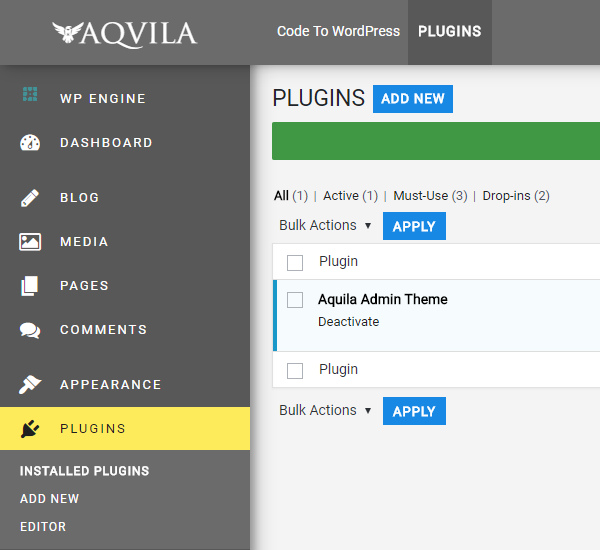 Aquila Admin Theme for wordpress admin panel